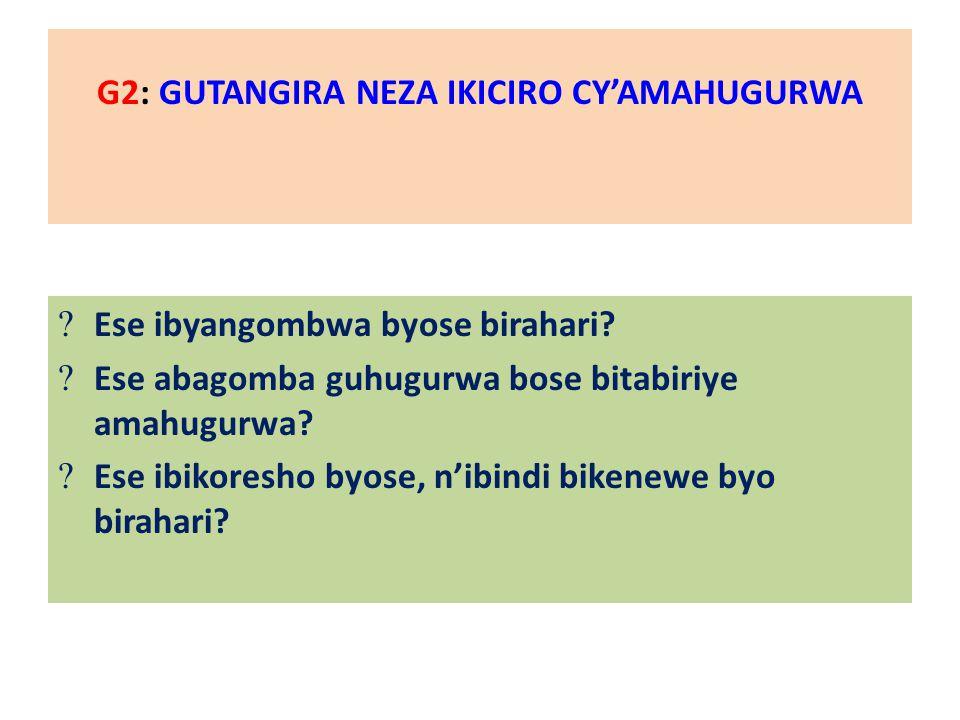 G2: GUTANGIRA NEZA IKICIRO CY'AMAHUGURWA  Ese ibyangombwa byose birahari.