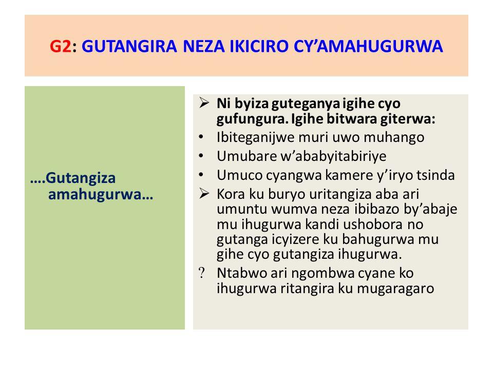 G2: GUTANGIRA NEZA IKICIRO CY'AMAHUGURWA ….Gutangiza amahugurwa…  Ni byiza guteganya igihe cyo gufungura.