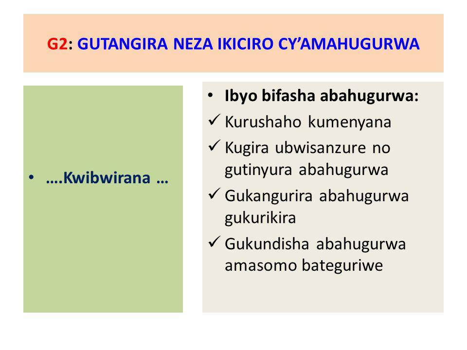 G2: GUTANGIRA NEZA IKICIRO CY'AMAHUGURWA ….Kwibwirana … Ibyo bifasha abahugurwa: Kurushaho kumenyana Kugira ubwisanzure no gutinyura abahugurwa Gukangurira abahugurwa gukurikira Gukundisha abahugurwa amasomo bateguriwe