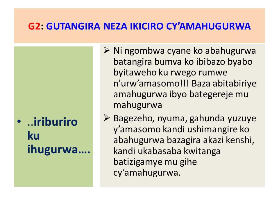 G2: GUTANGIRA NEZA IKICIRO CY'AMAHUGURWA..iriburiro ku ihugurwa….