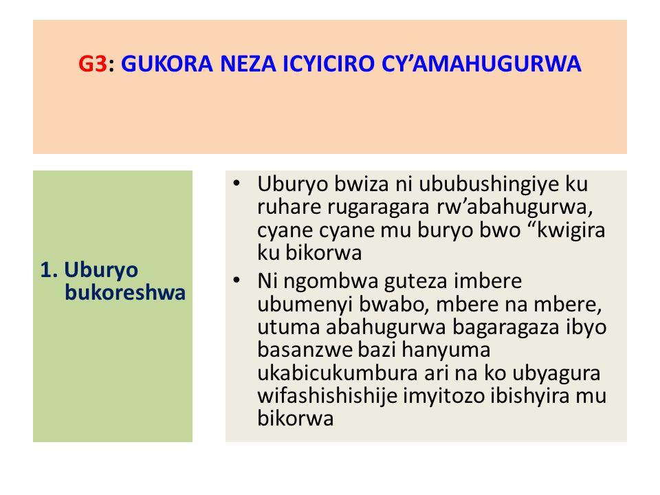 G3: GUKORA NEZA ICYICIRO CY'AMAHUGURWA 1.