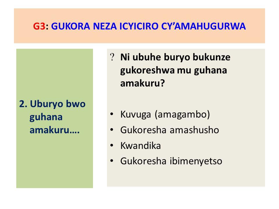 G3: GUKORA NEZA ICYICIRO CY'AMAHUGURWA 2. Uburyo bwo guhana amakuru….