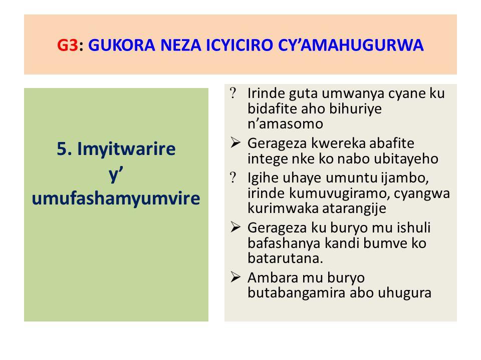 G3: GUKORA NEZA ICYICIRO CY'AMAHUGURWA 5.