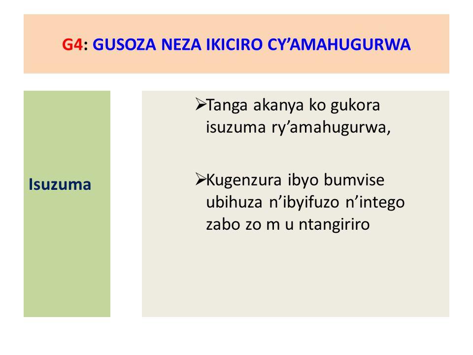 G4: GUSOZA NEZA IKICIRO CY'AMAHUGURWA Isuzuma  Tanga akanya ko gukora isuzuma ry'amahugurwa,  Kugenzura ibyo bumvise ubihuza n'ibyifuzo n'intego zabo zo m u ntangiriro