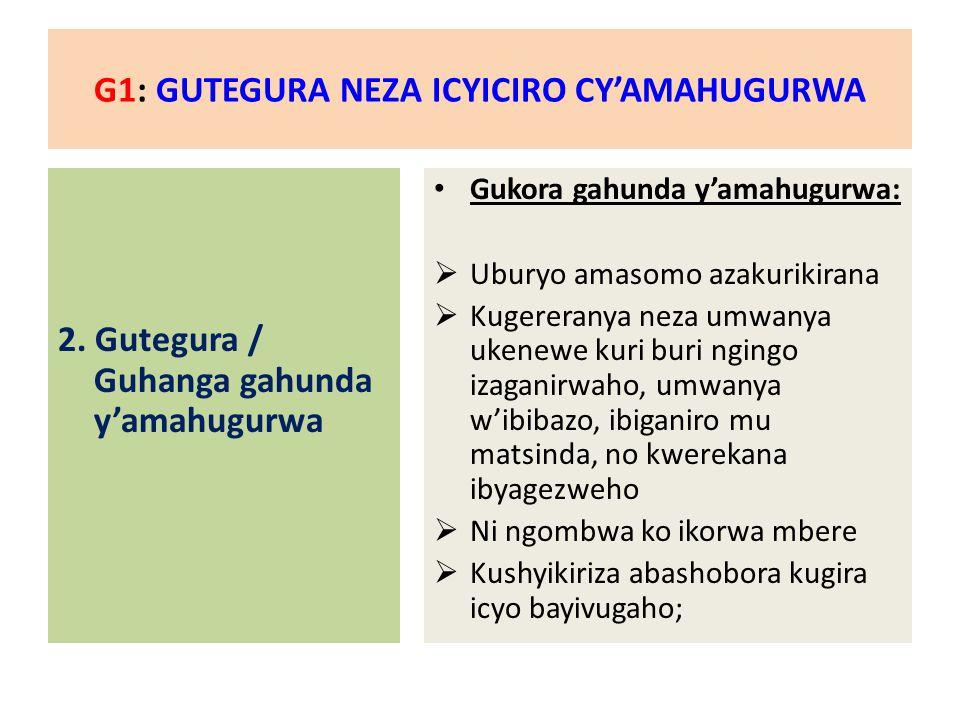 G1: GUTEGURA NEZA ICYICIRO CY'AMAHUGURWA 3.