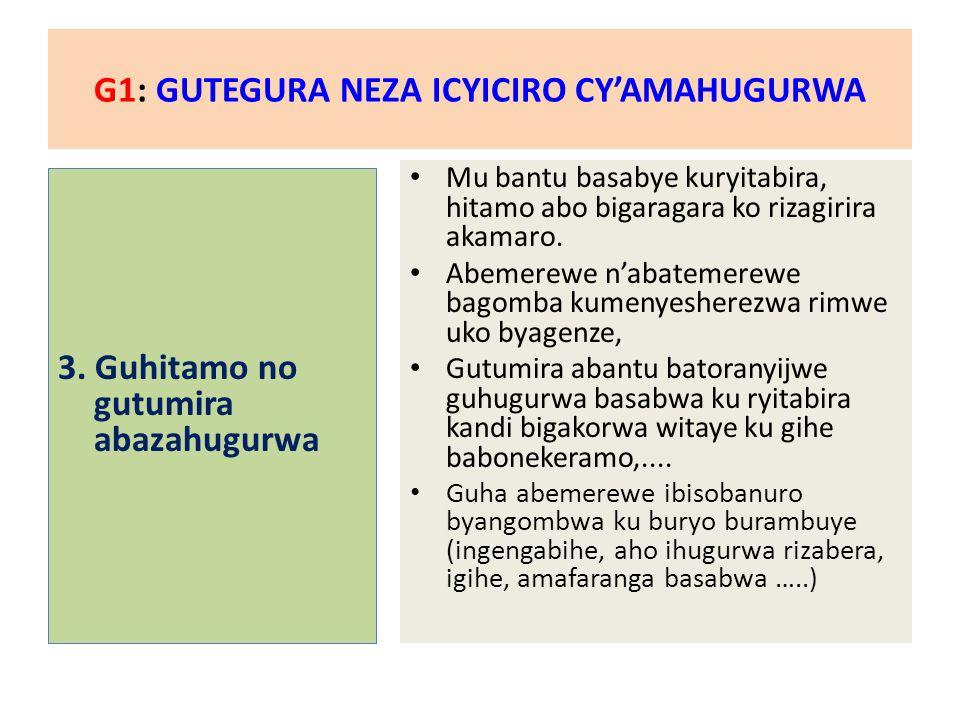 G1: GUTEGURA NEZA ICYICIRO CY'AMAHUGURWA 4.