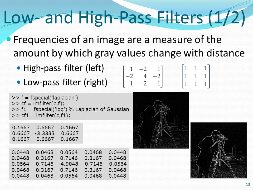 Low- and High-Pass Filters (1/2) Frequencies of an image are a measure of the amount by which gray values change with distance High-pass filter (left)