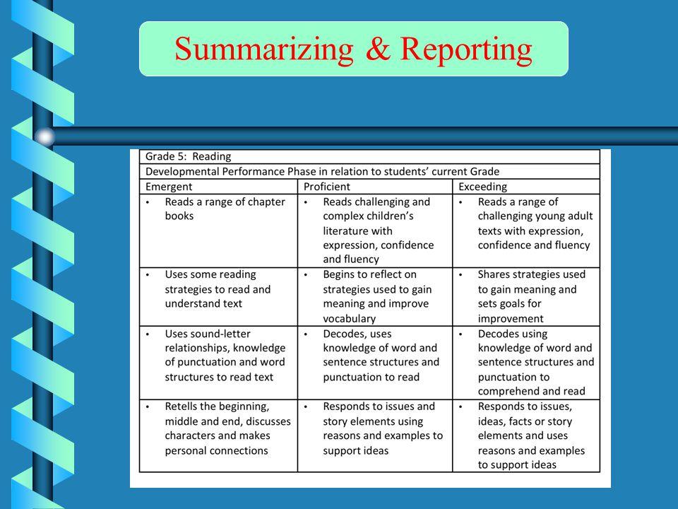 Summarizing & Reporting