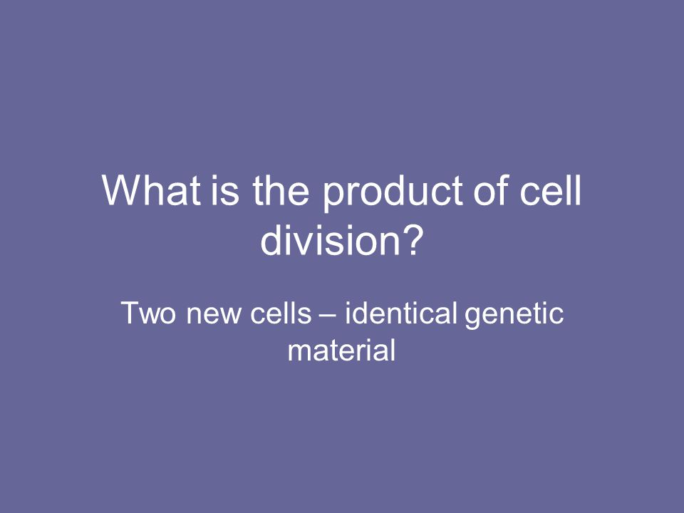 What is the product of cell division? Two new cells – identical genetic material