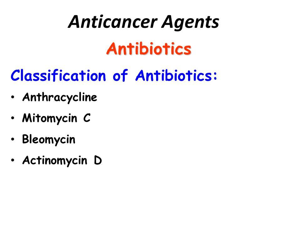 Antibiotics Classification of Antibiotics: Anthracycline Mitomycin C Bleomycin Actinomycin D Anticancer Agents