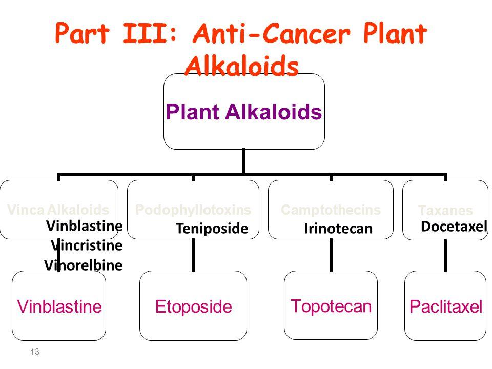 13 Plant Alkaloids Vinca Alkaloids Vinblastine Podophyllotoxins Etoposide Camptothecins Topotecan Taxanes Paclitaxel Vinblastine Vincristine Vinorelbine TeniposideIrinotecan Docetaxel Part III: Anti-Cancer Plant Alkaloids