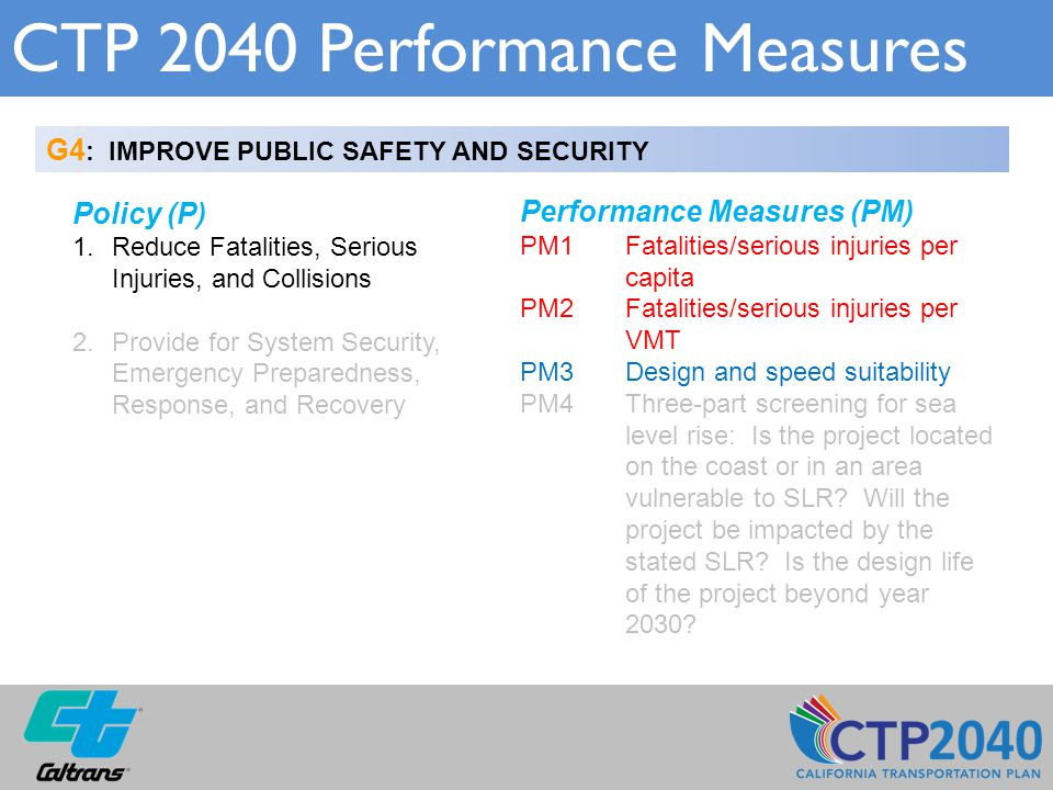 CTP 2040 Performance Measures G4 : IMPROVE PUBLIC SAFETY AND SECURITY Policy (P) 1.Reduce Fatalities, Serious Injuries, and Collisions 2.Provide for S