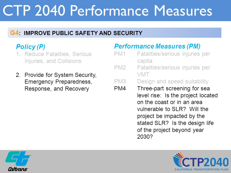 CTP 2040 Performance Measures G4 : IMPROVE PUBLIC SAFETY AND SECURITY Policy (P) 1.Reduce Fatalities, Serious Injuries, and Collisions 2.Provide for System Security, Emergency Preparedness, Response, and Recovery Performance Measures (PM) PM1 Fatalities/serious injuries per capita PM2Fatalities/serious injuries per VMT PM3Design and speed suitability PM4Three-part screening for sea level rise: Is the project located on the coast or in an area vulnerable to SLR.