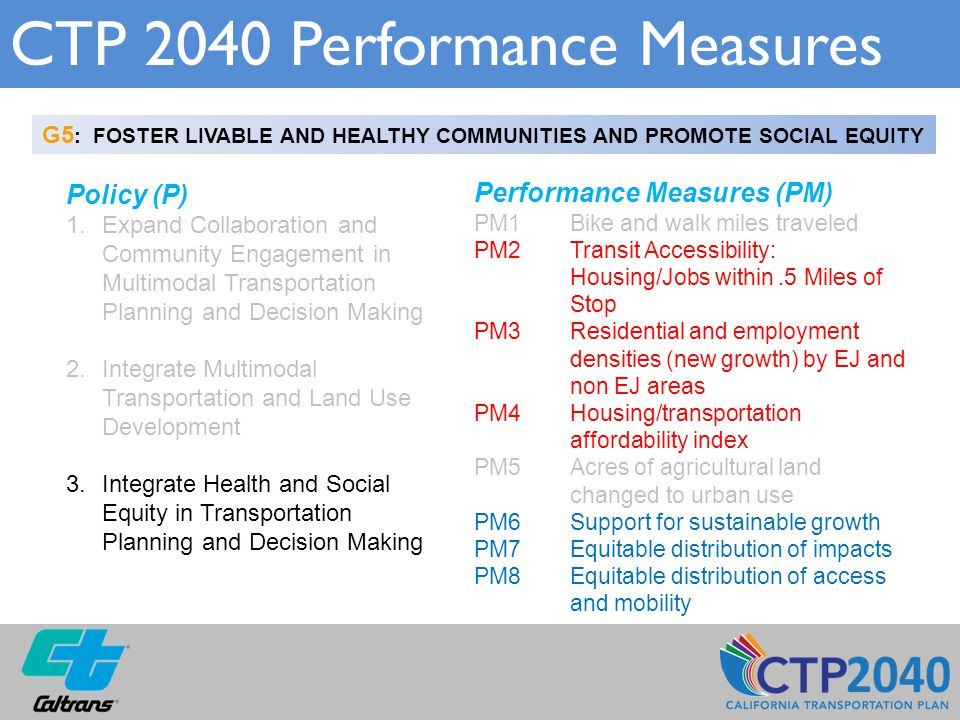 CTP 2040 Performance Measures G5 : FOSTER LIVABLE AND HEALTHY COMMUNITIES AND PROMOTE SOCIAL EQUITY Policy (P) 1.Expand Collaboration and Community En
