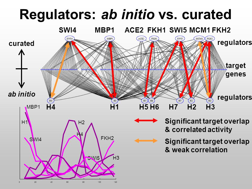 0 20 40 60 80 100 120 H2 SWI5 H4 SWI4 Significant target overlap & correlated activity Significant target overlap & weak correlation H1 MBP1 H3 FKH2 curated ab initio target genes regulators Regulators: ab initio vs.