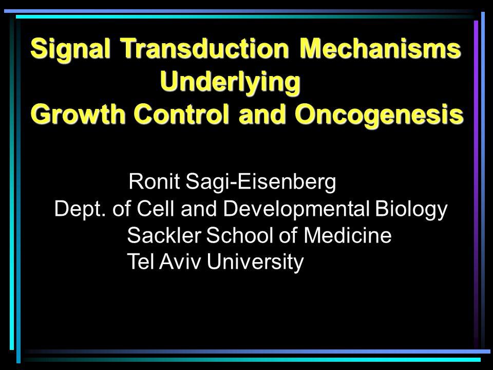 Signal Transduction Mechanisms Underlying Underlying Growth Control and Oncogenesis Ronit Sagi-Eisenberg Dept.