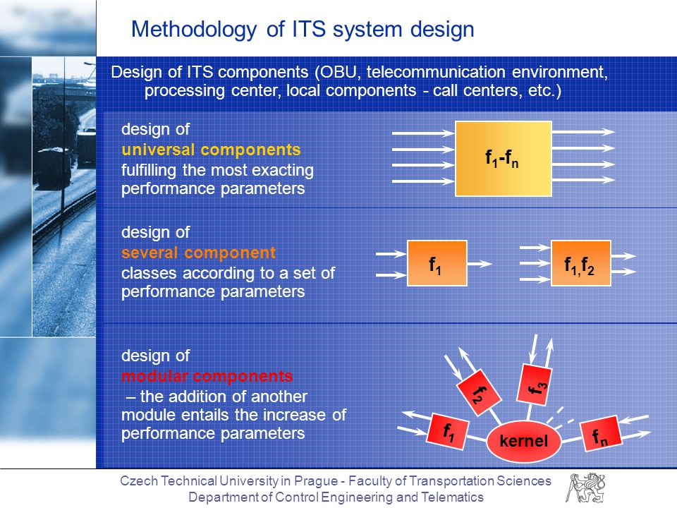 Czech Technical University in Prague - Faculty of Transportation Sciences Department of Control Engineering and Telematics Methodology of ITS system design Design of ITS components (OBU, telecommunication environment, processing center, local components - call centers, etc.) design of modular components – the addition of another module entails the increase of performance parameters f1f1 f2f2 f3f3 fnfn kernel design of several component classes according to a set of performance parameters f1f1 f 1, f 2 design of universal components fulfilling the most exacting performance parameters f 1 -f n