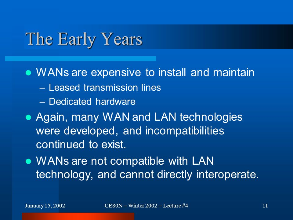 January 15, 2002CE80N -- Winter 2002 -- Lecture #412 The Early Years Many WANs and LANs were installed, but machines on the WANs could not access information on the LANs..