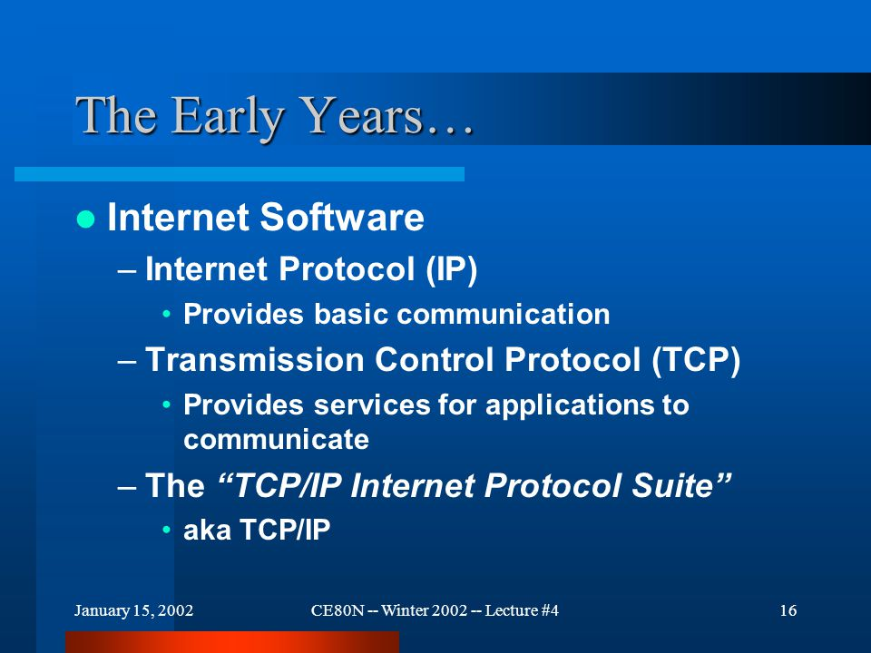 January 15, 2002CE80N -- Winter 2002 -- Lecture #416 The Early Years… Internet Software –Internet Protocol (IP) Provides basic communication –Transmission Control Protocol (TCP) Provides services for applications to communicate –The TCP/IP Internet Protocol Suite aka TCP/IP