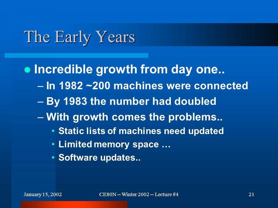 January 15, 2002CE80N -- Winter 2002 -- Lecture #421 The Early Years Incredible growth from day one..