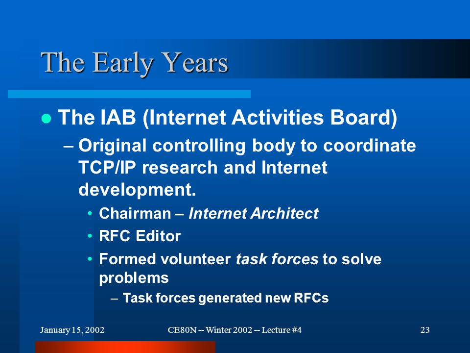 January 15, 2002CE80N -- Winter 2002 -- Lecture #423 The Early Years The IAB (Internet Activities Board) –Original controlling body to coordinate TCP/IP research and Internet development.
