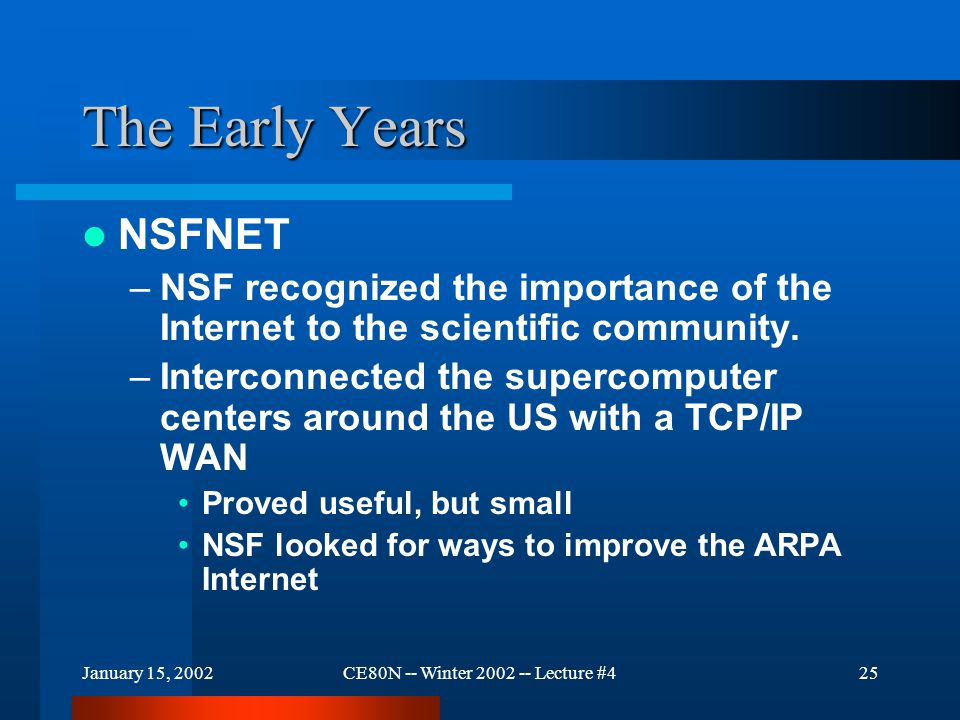 January 15, 2002CE80N -- Winter 2002 -- Lecture #425 The Early Years NSFNET –NSF recognized the importance of the Internet to the scientific community.