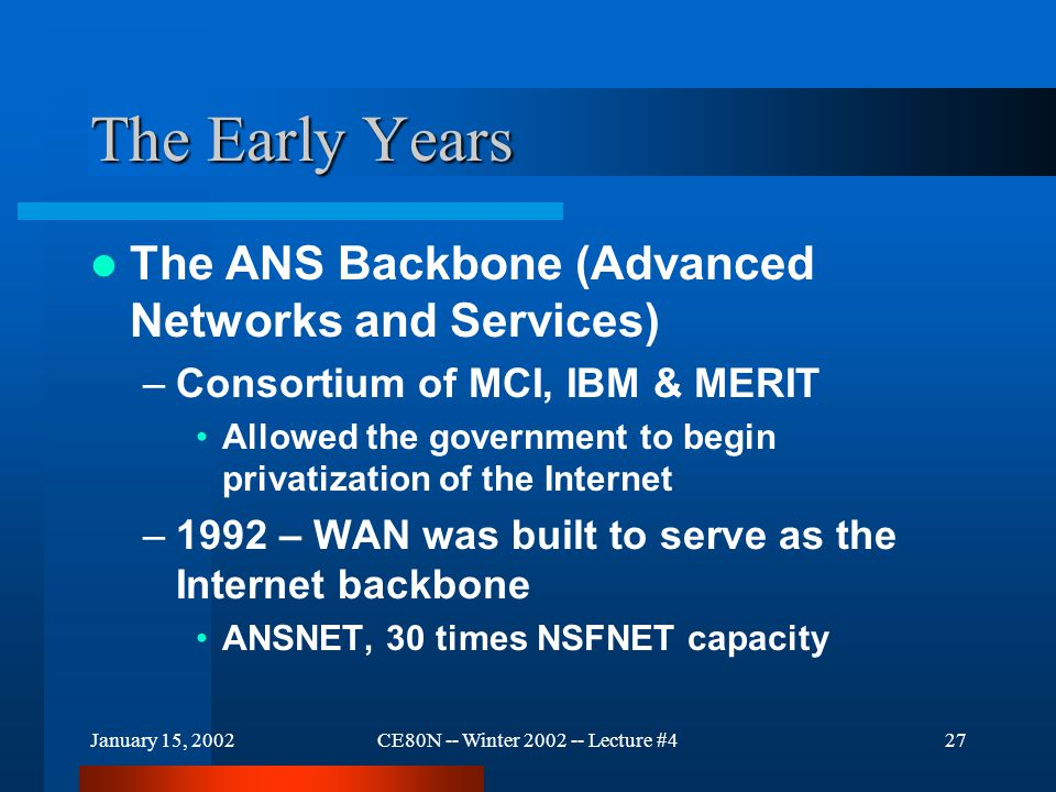 January 15, 2002CE80N -- Winter 2002 -- Lecture #427 The Early Years The ANS Backbone (Advanced Networks and Services) –Consortium of MCI, IBM & MERIT Allowed the government to begin privatization of the Internet –1992 – WAN was built to serve as the Internet backbone ANSNET, 30 times NSFNET capacity