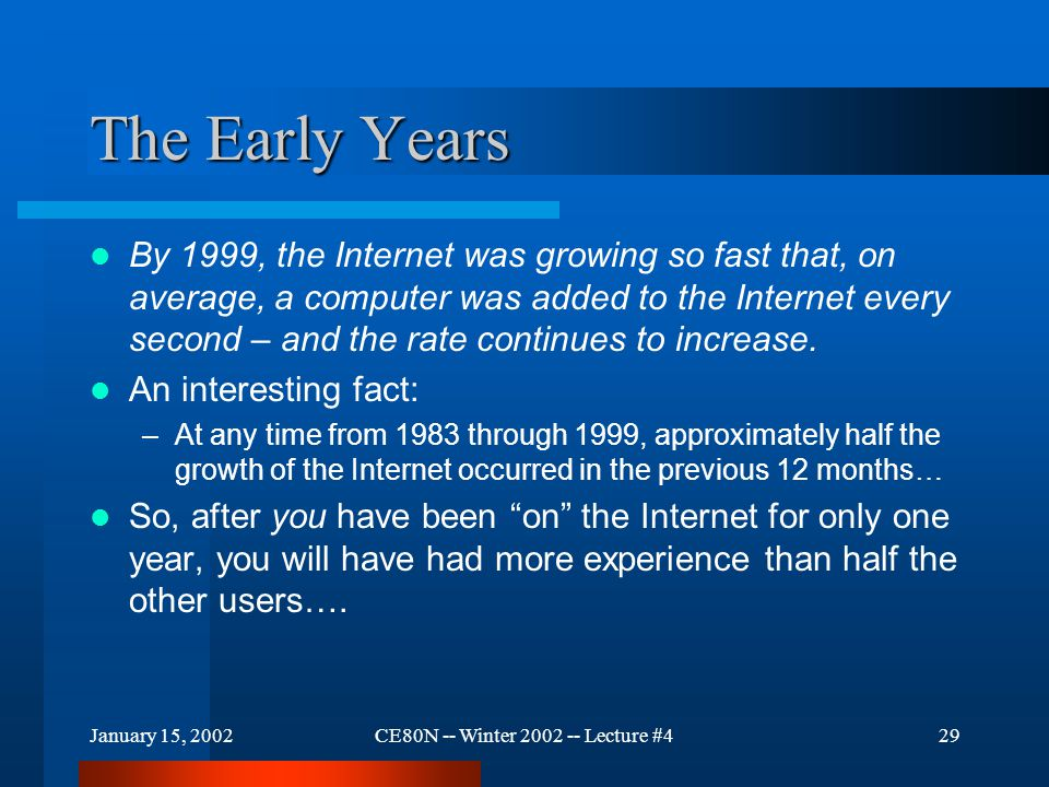 January 15, 2002CE80N -- Winter 2002 -- Lecture #429 The Early Years By 1999, the Internet was growing so fast that, on average, a computer was added to the Internet every second – and the rate continues to increase.