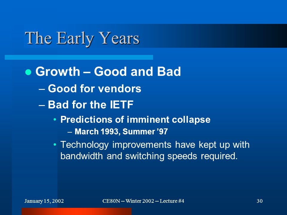 January 15, 2002CE80N -- Winter 2002 -- Lecture #431 The Early Years The Hard limit – Address space –The IP protocol is limited to a number contained in 4 bytes (32 bits)… Byte 0Byte 1Byte 2Byte 3 This limits the number of possibilities to 2 32 = 4,294,967,296 There are solutions – IPv6, NAT