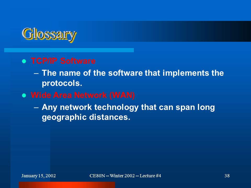 January 15, 2002CE80N -- Winter 2002 -- Lecture #439 Glossary ANSNET – A major Wide Area Network that formed part of the Internet in the mid-1990s.