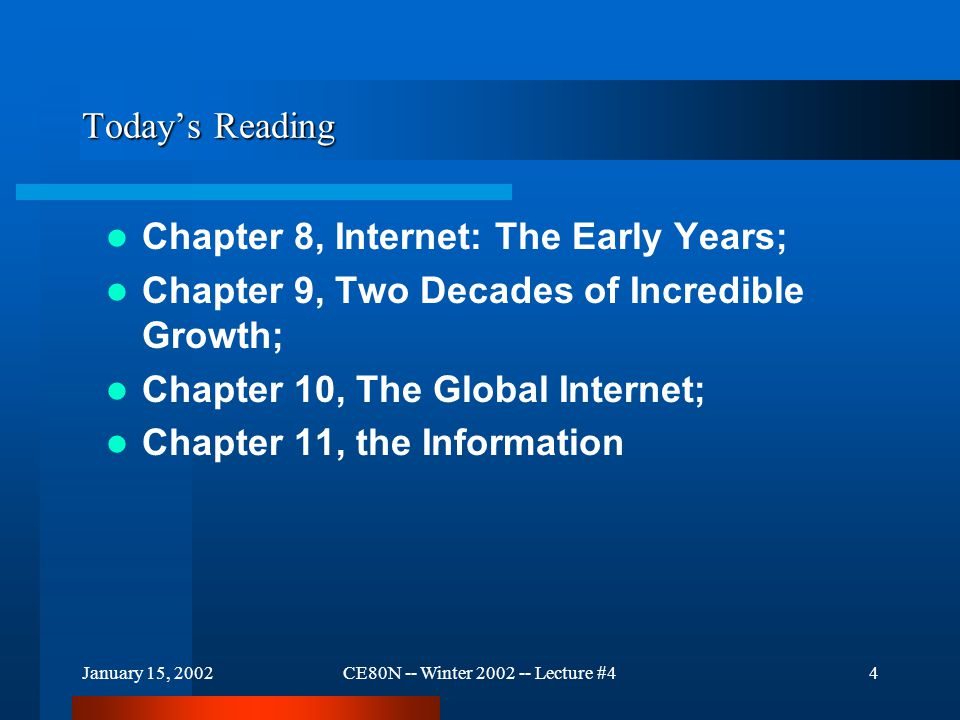 January 15, 2002CE80N -- Winter 2002 -- Lecture #44 Today's Reading Chapter 8, Internet: The Early Years; Chapter 9, Two Decades of Incredible Growth; Chapter 10, The Global Internet; Chapter 11, the Information