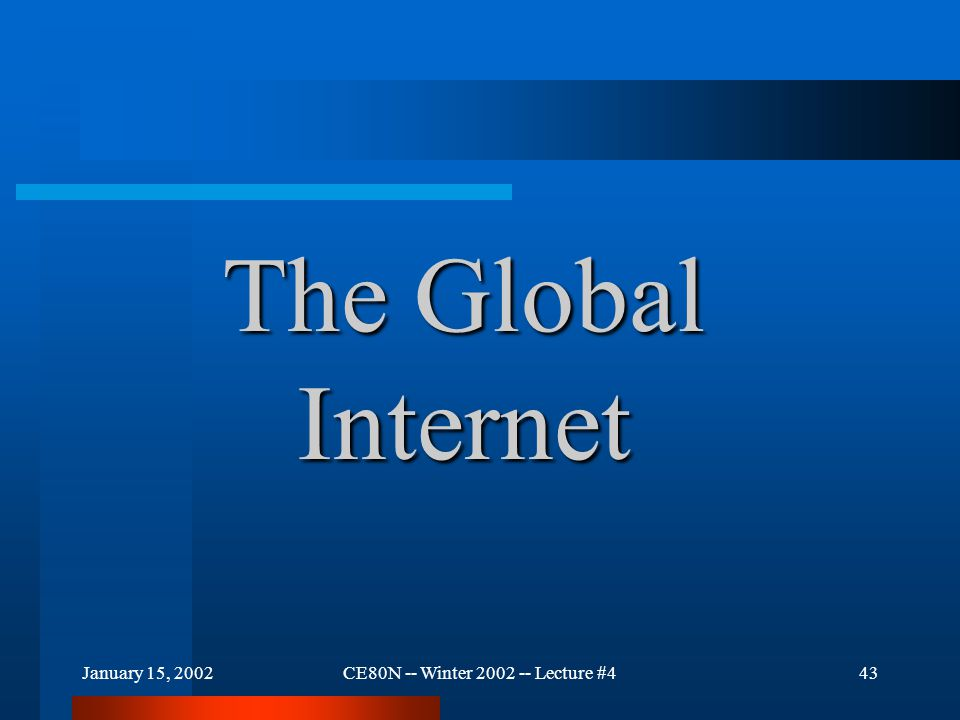 January 15, 2002CE80N -- Winter 2002 -- Lecture #444 The Global Internet The Internet was originally sponsored by the US Government (through ARPA).