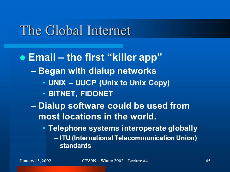 January 15, 2002CE80N -- Winter 2002 -- Lecture #445 The Global Internet Email – the first killer app –Began with dialup networks UNIX – UUCP (Unix to Unix Copy) BITNET, FIDONET –Dialup software could be used from most locations in the world.