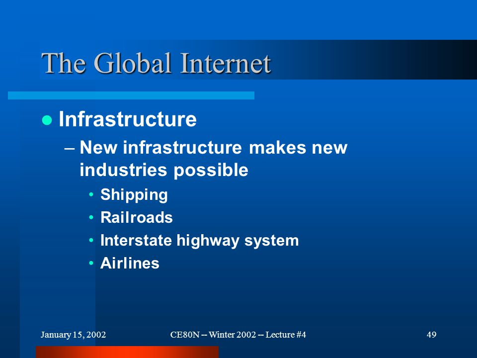 January 15, 2002CE80N -- Winter 2002 -- Lecture #449 The Global Internet Infrastructure –New infrastructure makes new industries possible Shipping Railroads Interstate highway system Airlines