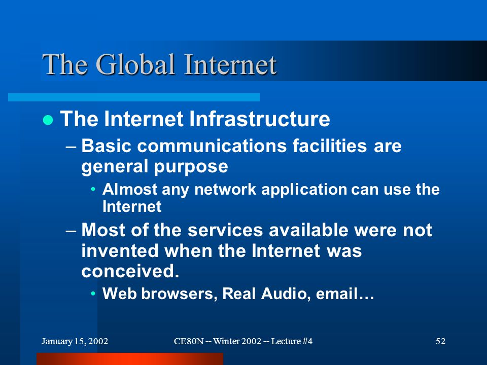 January 15, 2002CE80N -- Winter 2002 -- Lecture #453 The Global Internet Internet Infrastructure –The TCP/IP Suite is the key General purpose Efficient Flexible Robust