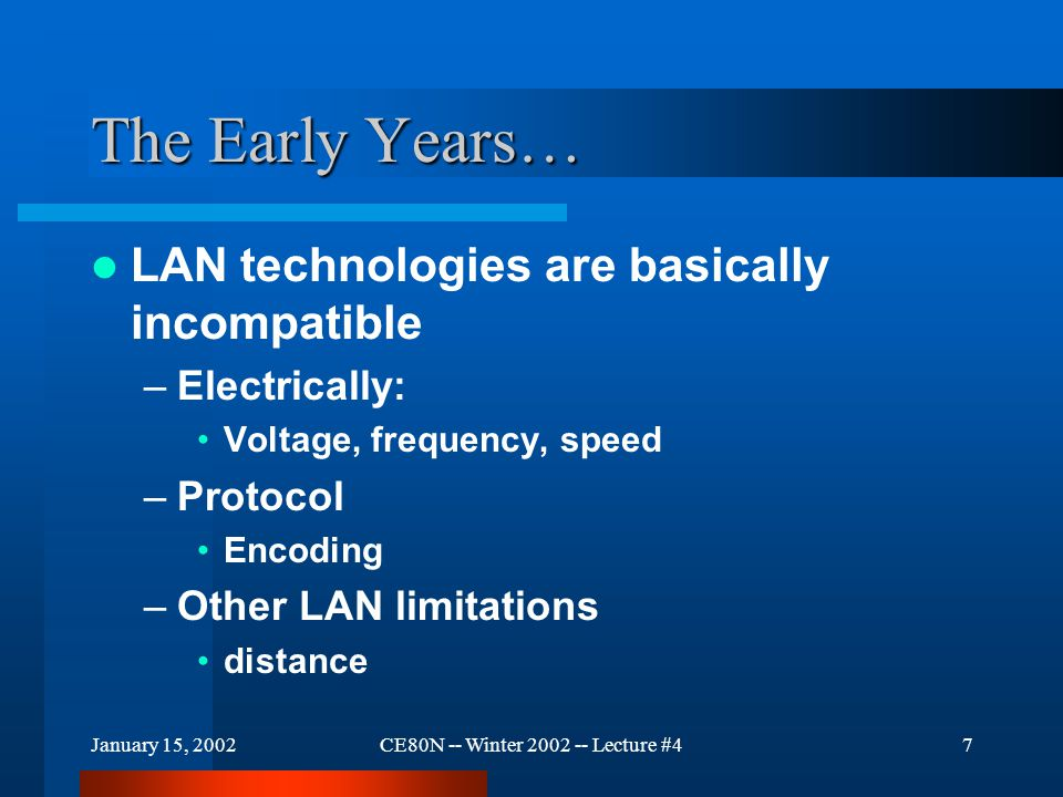 January 15, 2002CE80N -- Winter 2002 -- Lecture #47 The Early Years… LAN technologies are basically incompatible –Electrically: Voltage, frequency, speed –Protocol Encoding –Other LAN limitations distance