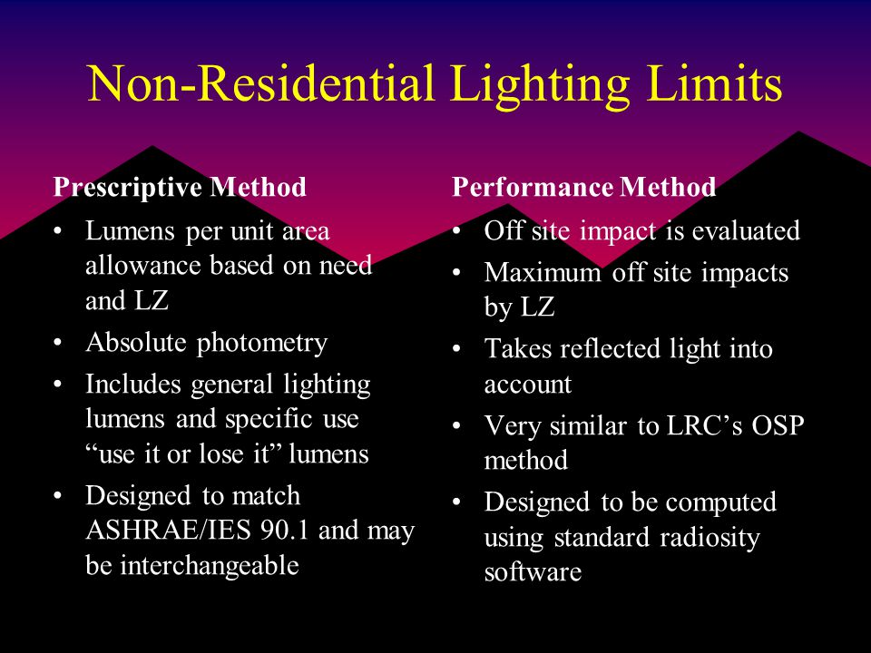 Non-Residential Lighting Limits Prescriptive Method Lumens per unit area allowance based on need and LZ Absolute photometry Includes general lighting lumens and specific use use it or lose it lumens Designed to match ASHRAE/IES 90.1 and may be interchangeable Performance Method Off site impact is evaluated Maximum off site impacts by LZ Takes reflected light into account Very similar to LRC's OSP method Designed to be computed using standard radiosity software