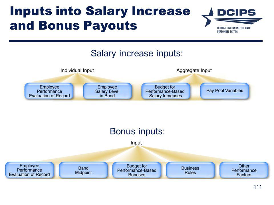 Inputs into Salary Increase and Bonus Payouts Salary increase inputs: Bonus inputs: 111