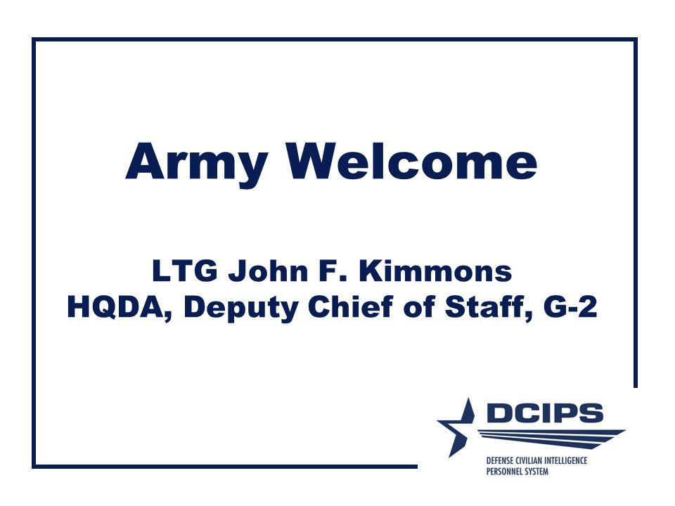 Army Welcome LTG John F. Kimmons HQDA, Deputy Chief of Staff, G-2