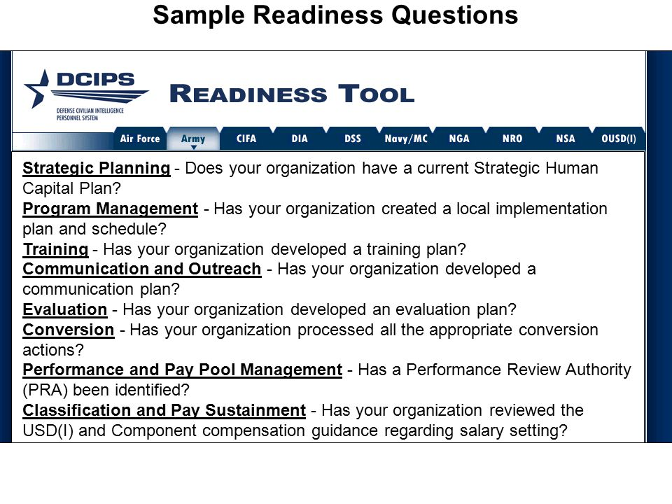 Sample Readiness Questions Strategic Planning Strategic Planning - Does your organization have a current Strategic Human Capital Plan.