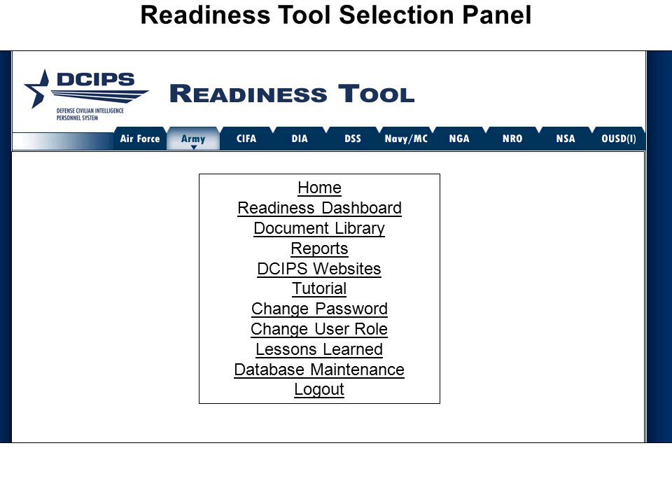 Readiness Tool Selection Panel Home Readiness Dashboard Document Library Reports DCIPS Websites Tutorial Change Password Change User Role Lessons Learned Database Maintenance Logout