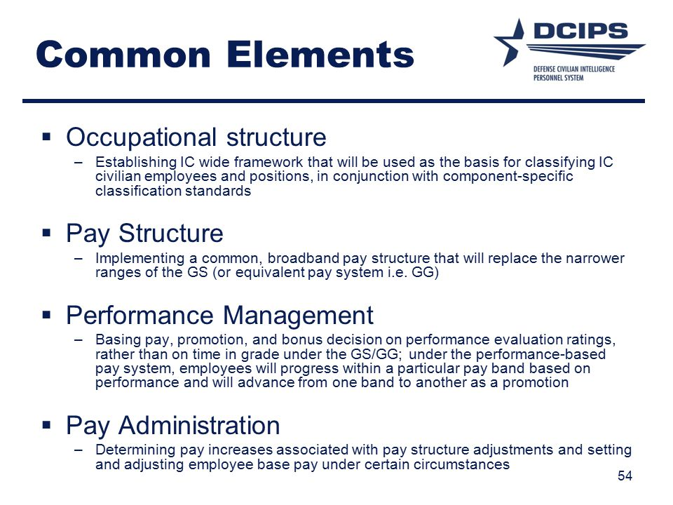 Common Elements  Occupational structure –Establishing IC wide framework that will be used as the basis for classifying IC civilian employees and positions, in conjunction with component-specific classification standards  Pay Structure –Implementing a common, broadband pay structure that will replace the narrower ranges of the GS (or equivalent pay system i.e.