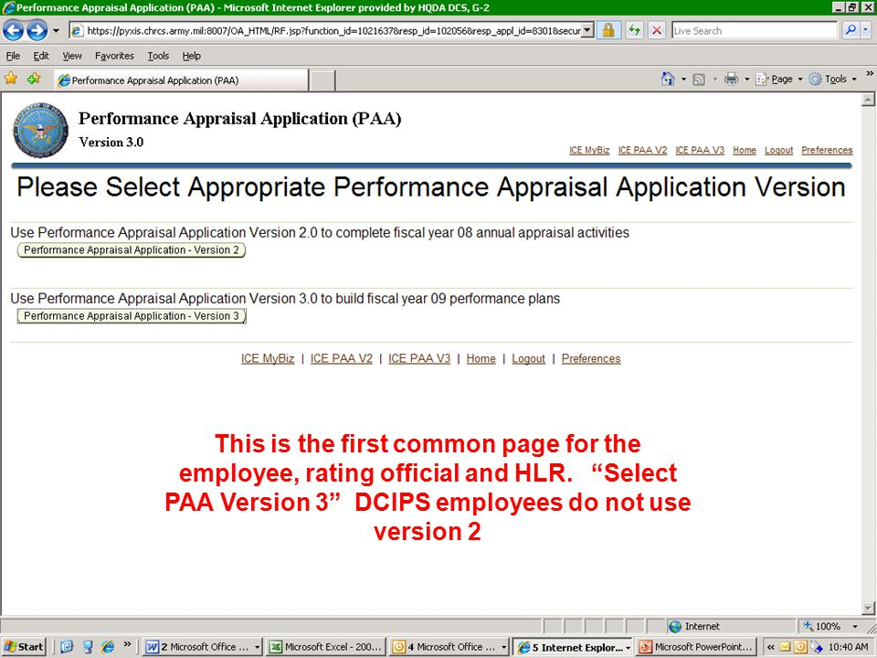 This is the first common page for the employee, rating official and HLR.