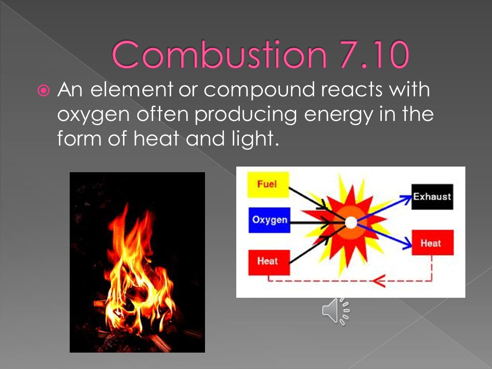  An element or compound reacts with oxygen often producing energy in the form of heat and light.