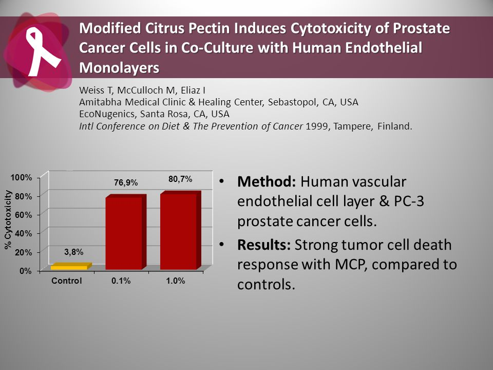 Method: Human vascular endothelial cell layer & PC-3 prostate cancer cells. Results: Strong tumor cell death response with MCP, compared to controls.