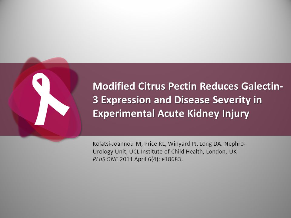 Modified Citrus Pectin Reduces Galectin- 3 Expression and Disease Severity in Experimental Acute Kidney Injury Kolatsi-Joannou M, Price KL, Winyard PJ
