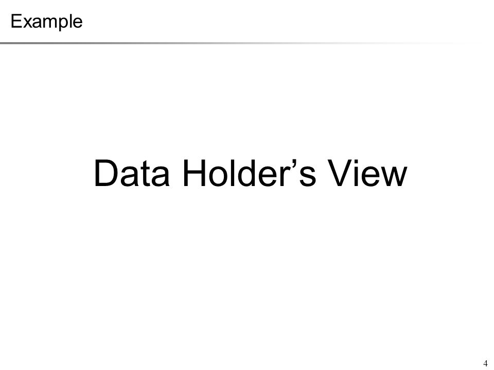 Data Holder's View 4 Example