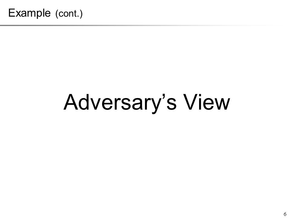Adversary's View 6 Example (cont.)