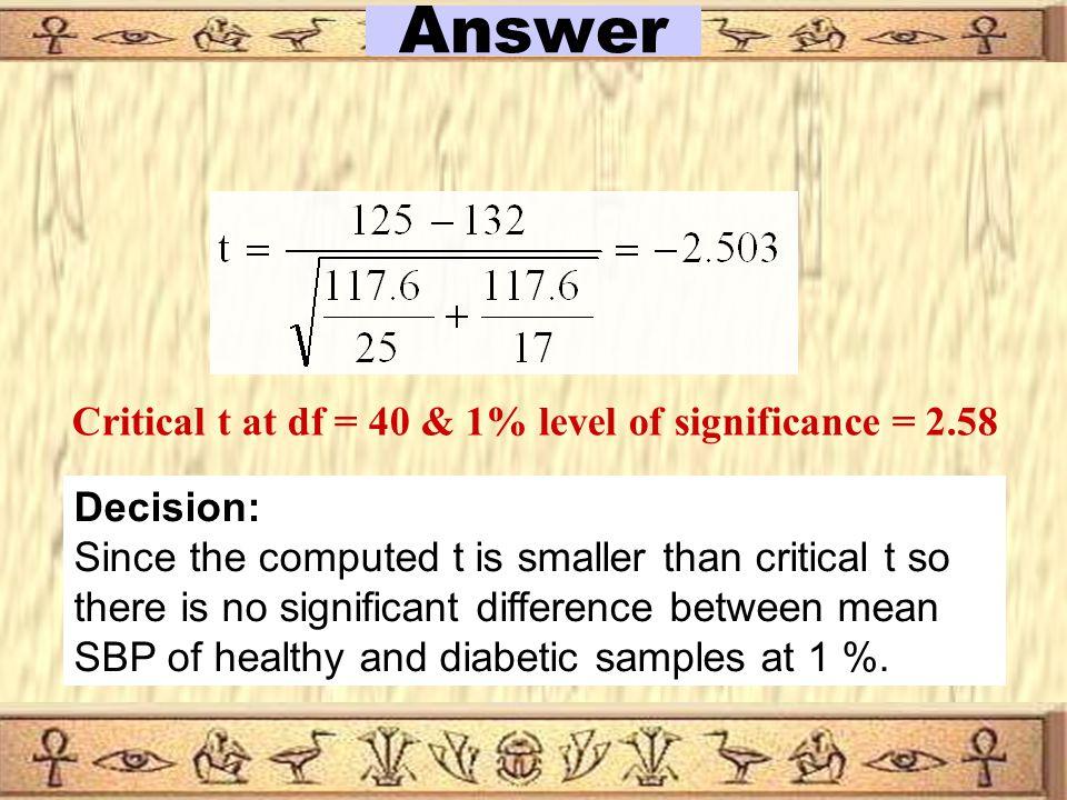 10 S 1 = 12 S 2 =11 State H0 H 0 :  1 =  2 State H1 H 1 :  1   2 Choose α α = 0.01 Answer