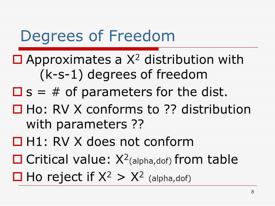 8 Degrees of Freedom  Approximates a X 2 distribution with (k-s-1) degrees of freedom  s = # of parameters for the dist.  Ho: RV X conforms to ?? d